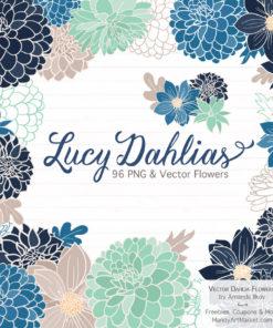 Navy & Mint Dahlia Clipart