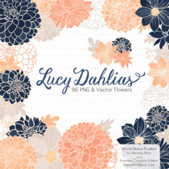 Navy & Peach Dahlia Clipart