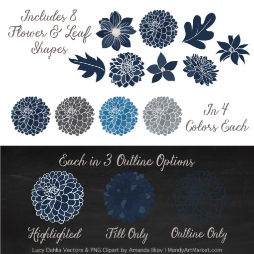 Navy & Pewter Dahlia Clipart