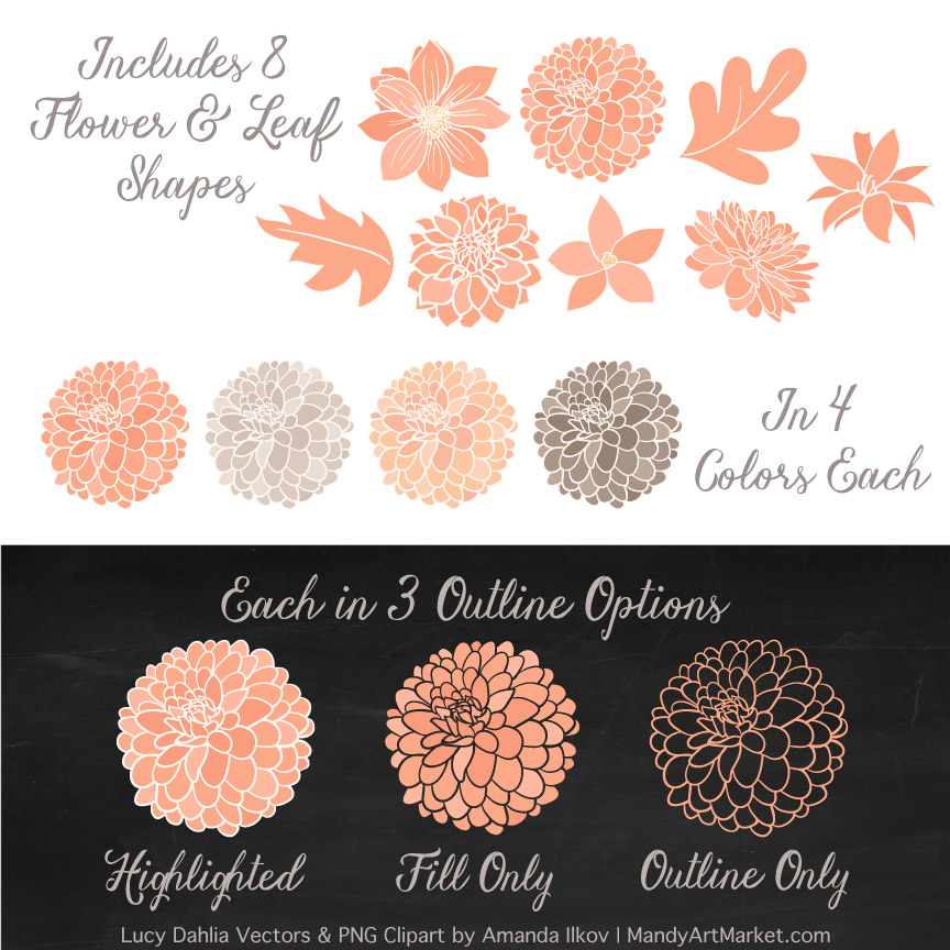 Peach Dahlia Clipart