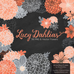 Peach & Pewter Dahlia Clipart