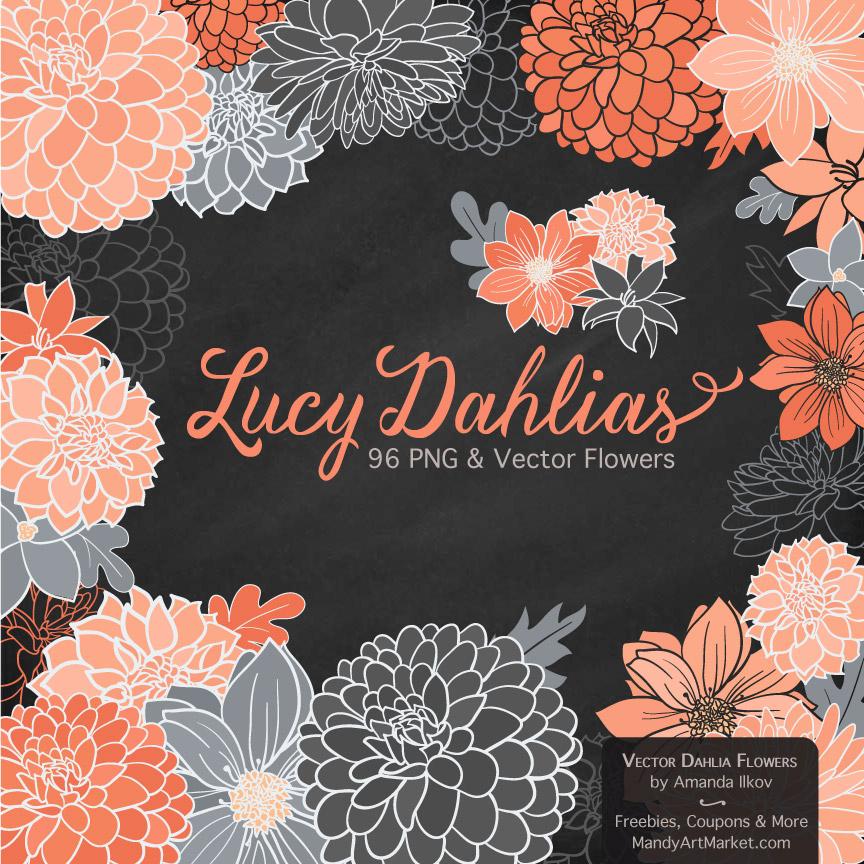 Peach & Pewter Dahlia Clipart