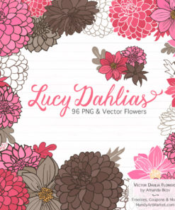 Pink & Brown Dahlia Clipart
