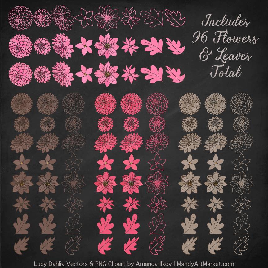 Pink & Brown Dahlia Clipart