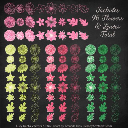 Pink & Green Dahlia Clipart