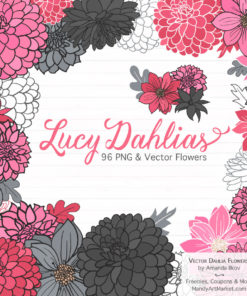 Pink & Pewter Dahlia Clipart