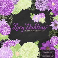 PurpleLimeLucyDahlias package 2 247x247 - New Lucy Dahlia Clipart in 96 Colors