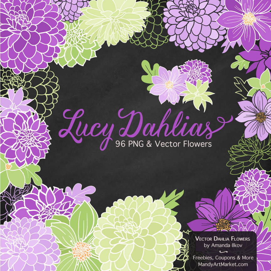 Purple & Lime Dahlia Clipart
