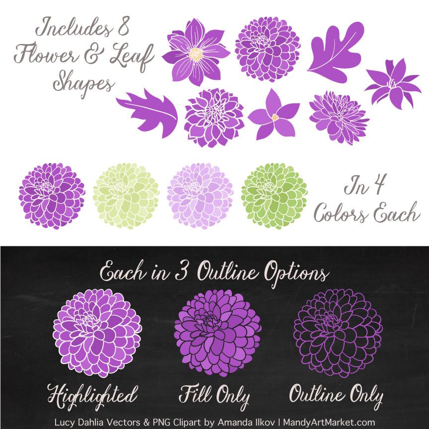 Purple & Lime Dahlia Clipart