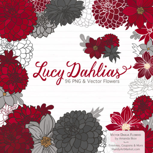 Red & Pewter Dahlia Clipart