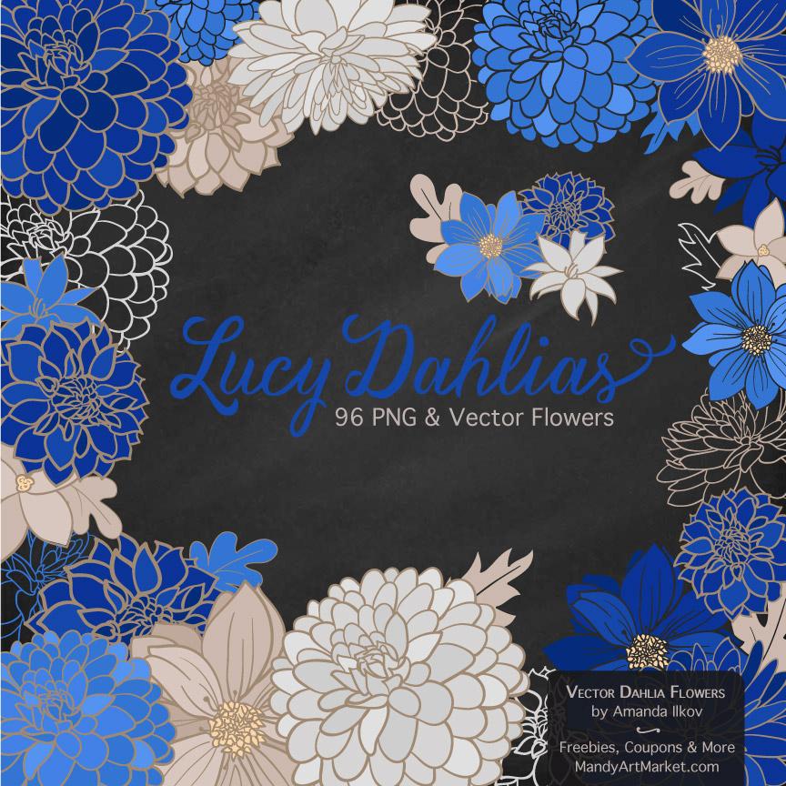 Royal Blue Dahlia Clipart