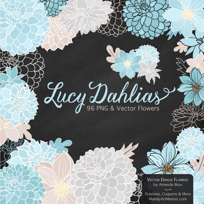 Soft Blue Dahlia Clipart
