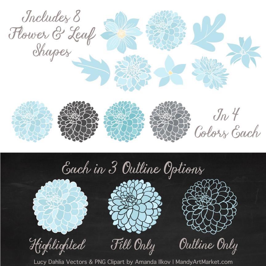 Soft Blue & Pewter Dahlia Clipart