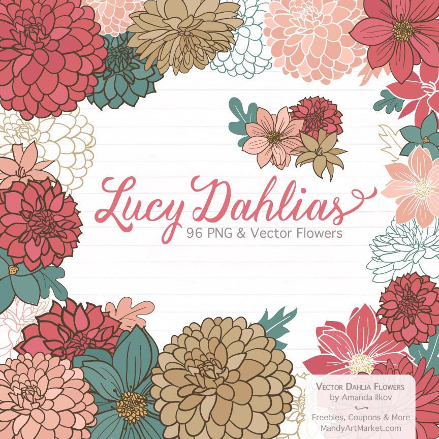 Soft Christmas Dahlia Clipart