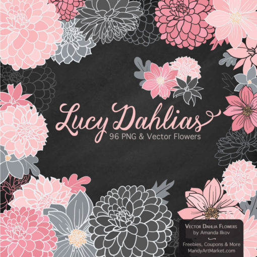 Soft Pink & Pewter Dahlia Clipart