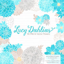 Tropical Blue Dahlia Clipart
