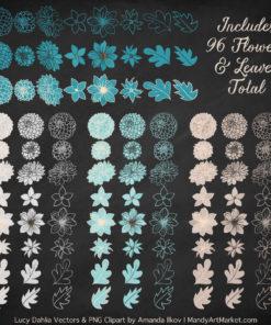 Vintage Blue Dahlia Clipart