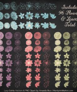 Vintage Dahlia Clipart