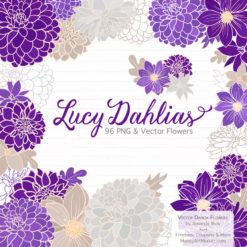 Violet Dahlia Clipart