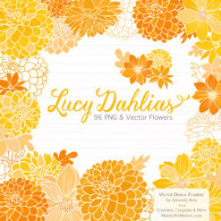 YellowLucyDahlias package 1 247x247 - New Lucy Dahlia Clipart in 96 Colors