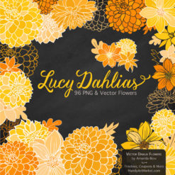 YellowLucyDahlias package 2 247x247 - New Lucy Dahlia Clipart in 96 Colors