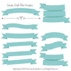 Aqua Ribbon Banner Clipart