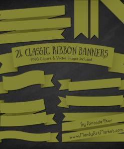 Avocado Ribbon Banner Clipart