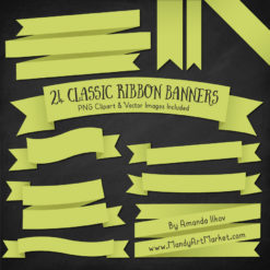 BambooRibbonBanners package 2 247x247 - Ribbon Banner Clipart Added in 40 Colors