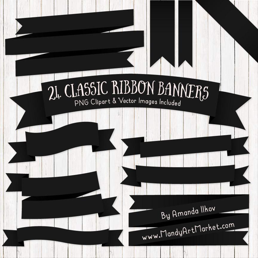 Black Ribbon Banner Clipart