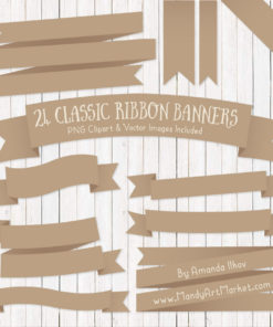 Champagne Ribbon Banner Clipart