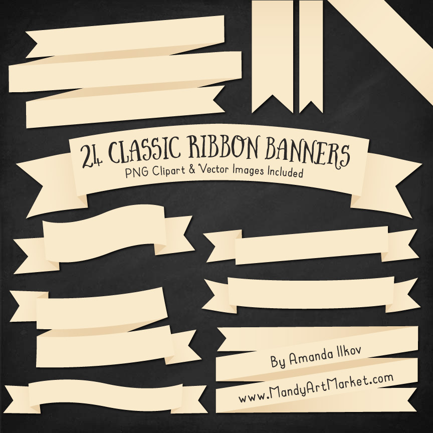 Cream Ribbon Banner Clipart