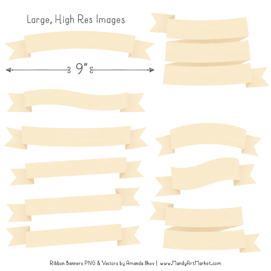 Very best Cream Ribbon Banner Clipart BC77