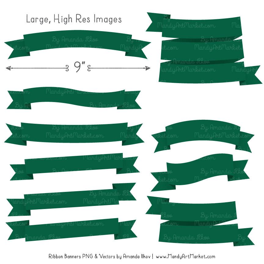 Emerald Ribbon Banner Clipart