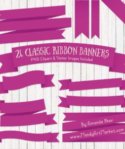 Fuchsia Ribbon Banner Clipart
