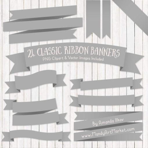 Grey Ribbon Banner Clipart