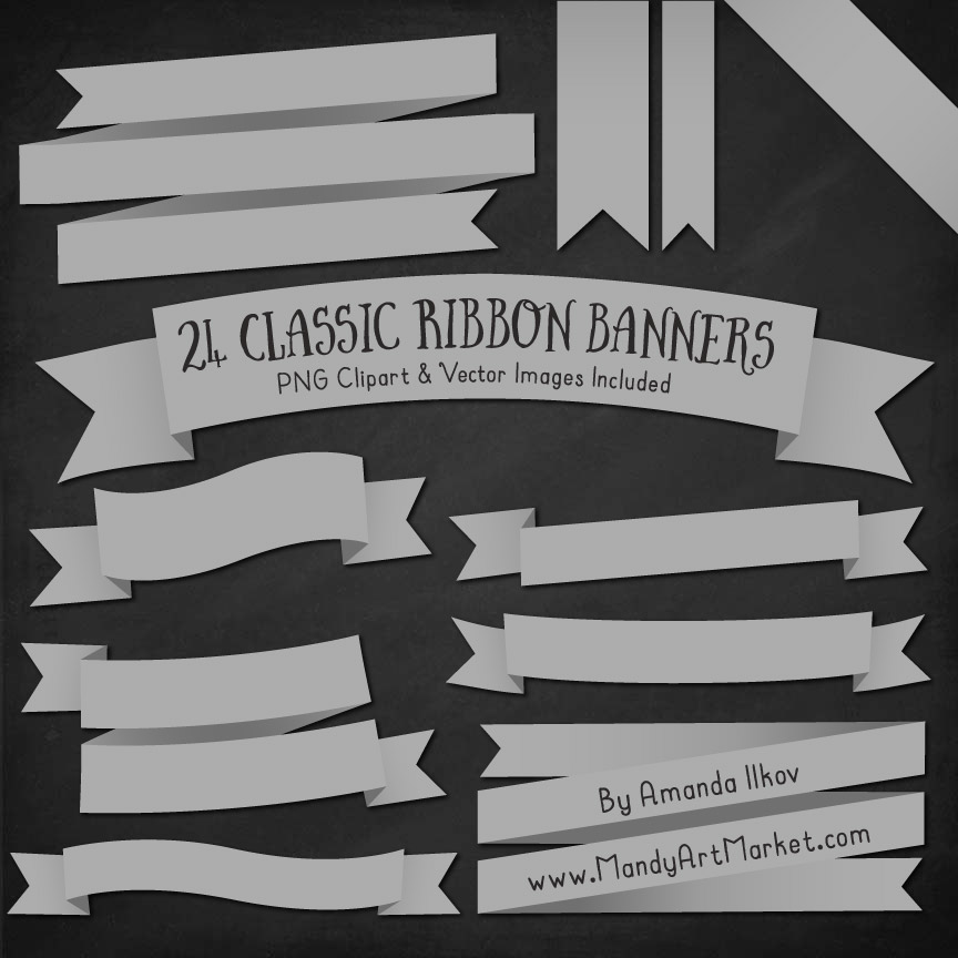 Grey Ribbon Banner Clipart