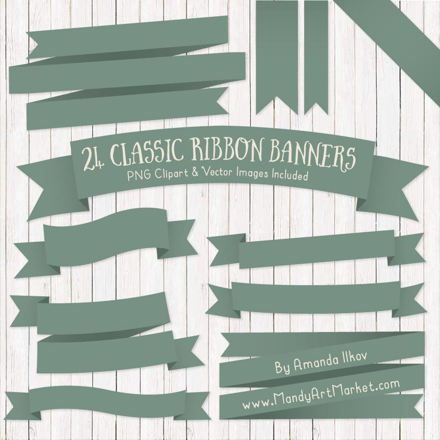 Hemlock Ribbon Banner Clipart