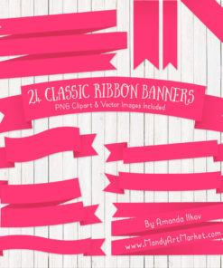 Hot Pink Ribbon Banner Clipart