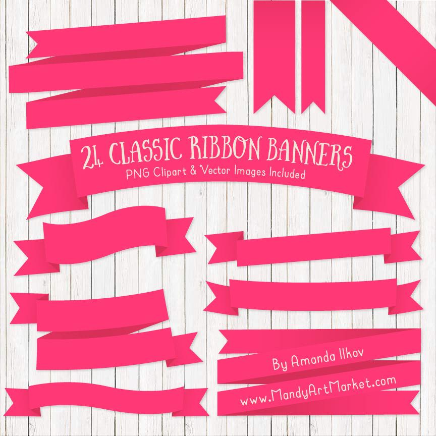 Hot Pink Ribbon Banner Clipart