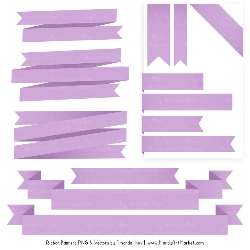 Lavender Ribbon Banner Clipart