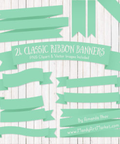 Mint Ribbon Banner Clipart