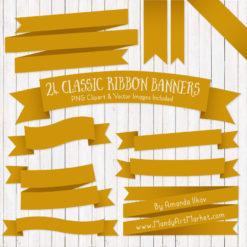 Mustard Ribbon Banner Clipart