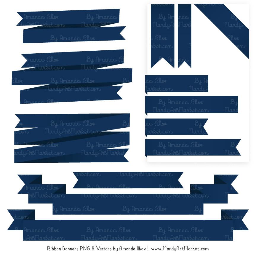 Navy Ribbon Banner Clipart