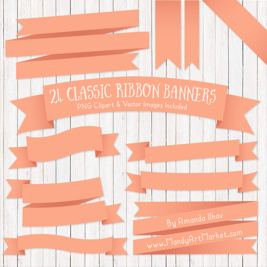 Peach Ribbon Banner Clipart