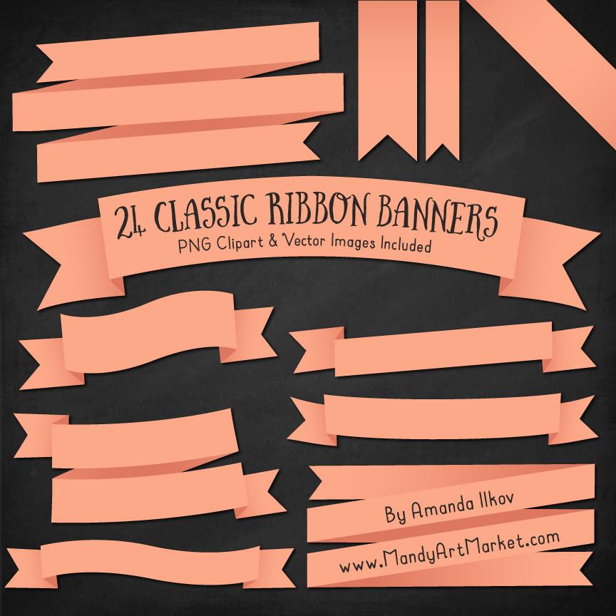 Peach Ribbon Banner Clipart