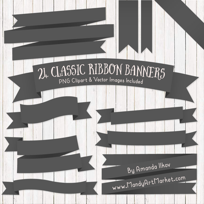 Pewter Ribbon Banner Clipart