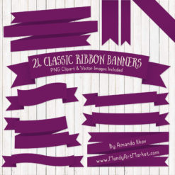 Plum Ribbon Banner Clipart