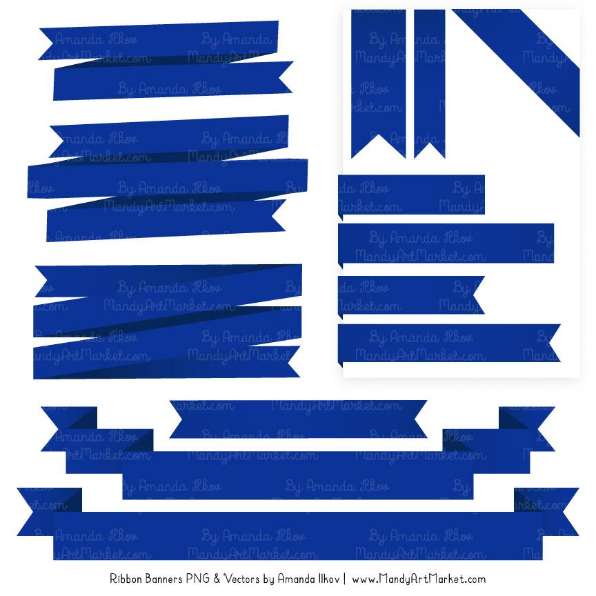 Royal Blue Ribbon Banner Clipart