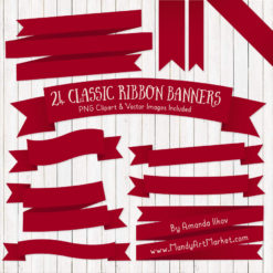 RubyRibbonBanners package 1 247x247 - Ribbon Banner Clipart Added in 40 Colors