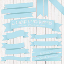 Soft Blue Ribbon Banner Clipart
